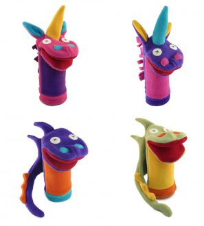 Cate and Levi Fantasy and Imagination Hand Puppets-Set of 4 Includes 2 Unicorns and 2 Dragons